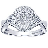 14k White Gold Flirtation Fashion Ladies' Ring angle 5