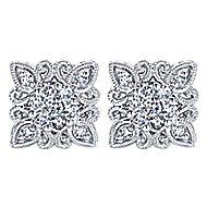 14k White Gold Flirtation Stud Earrings angle 1