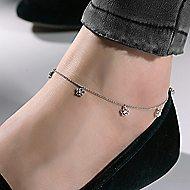 14k White Gold Floral Chain Ankle Bracelet