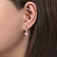 14k White Gold Floral Diamond Pearl Drop Earrings