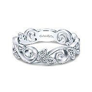 14k White Gold Floral Midi Ladies' Ring angle 1