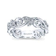 14k White Gold Floral Midi Ladies' Ring angle 4