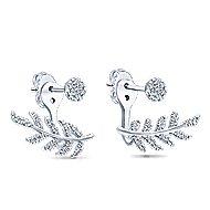 14k White Gold Floral Peek A Boo Earrings