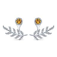 14k White Gold Floral Peek A Boo Earrings angle 1