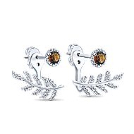 14k White Gold Floral Peek A Boo Earrings