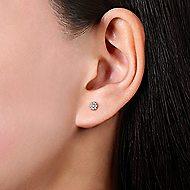 14k White Gold Floral Round Diamond Stud Earrings