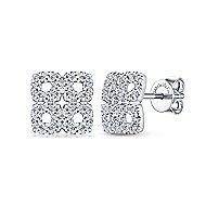 14k White Gold Four Square Pave Diamond Stud Earrings angle 1
