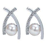 14k White Gold Grace Drop Earrings angle 1