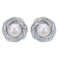 14k White Gold Grace Stud Earrings angle 1