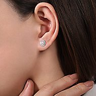 14k White Gold Grace Stud Earrings angle 2