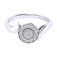14k White Gold Halo Engagement Ring angle 1