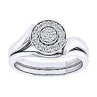 14k White Gold Halo Engagement Ring angle 4