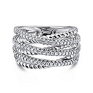 14k White Gold Hampton Twisted Ladies' Ring angle 1