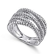 14k White Gold Hampton Twisted Ladies Ring