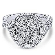 14k White Gold Hampton Twisted Ladies' Ring angle 1