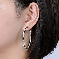 14k White Gold Hoops Classic Hoop Earrings angle 4