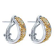 14k White Gold Hoops Fashion Earrings angle 2