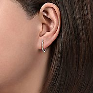 14k White Gold Huggies Huggie Earrings angle 2