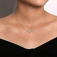 14k White Gold Indulgence Bar Necklace angle 3