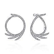 14k White Gold Intricate Diamond Fan Hoop Earrings angle 1