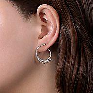 14k White Gold Intricate Diamond Fan Hoop Earrings angle 2