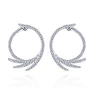 14k White Gold Intricate Diamond Fan Hoop Earrings angle 3