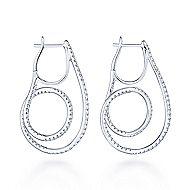 14k White Gold Intricate Twisted Loop Diamond Hoop Earrings