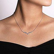 14k White Gold Kaslique Bar Necklace angle 3