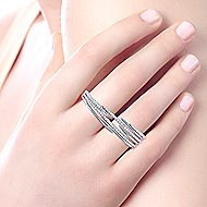 14k White Gold Kaslique Double Ring Ladies' Ring angle 5
