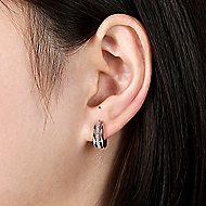 14k White Gold Kaslique Huggie Earrings
