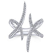14k White Gold Kaslique Twisted Ladies' Ring angle 4