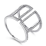 14k White Gold Kaslique Wide Band Ladies' Ring