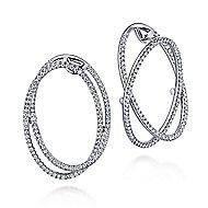14k White Gold Layered Double Diamond Intricate Hoop Earrings angle 1