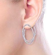 14k White Gold Layered Double Diamond Intricate Hoop Earrings angle 2