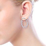 14k White Gold Layered Double Diamond Intricate Hoop Earrings angle 4