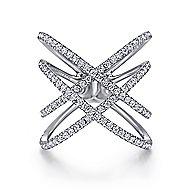 14k White Gold Layered Woven Diamond Fashion Ring