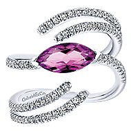 14k White Gold Lusso Color Fashion Ladies' Ring angle 1