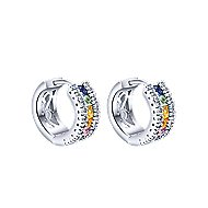 14k White Gold Lusso Color Huggie Earrings angle 1