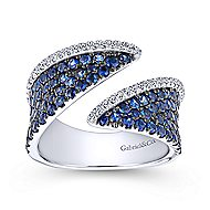 14k White Gold Lusso Color Wide Band Ladies' Ring angle 4
