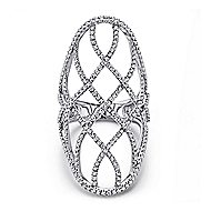 14k White Gold Lusso Diamond Statement Ladies' Ring angle 1