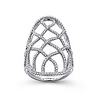 14k White Gold Lusso Diamond Statement Ladies' Ring angle 4