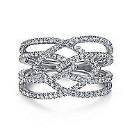 14k White Gold Lusso Diamond Wide Band Ladies' Ring angle 1