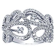 14k White Gold Lusso Fashion Ladies Ring