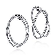 14k White Gold Lusso Intricate Hoop Earrings angle 1