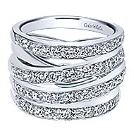 14k White Gold Lusso Twisted Ladies' Ring