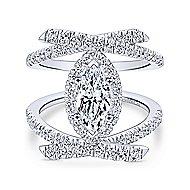14k White Gold Marquise  Halo Engagement Ring angle 1