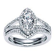 14k White Gold Marquise  Halo Engagement Ring angle 4