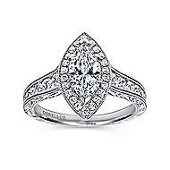14k White Gold Marquise  Halo Engagement Ring angle 5