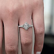 14k White Gold Marquise  Halo Engagement Ring angle 6
