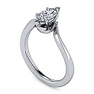 14k White Gold Marquise  Solitaire Engagement Ring angle 3